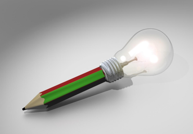 Photograph of a pencil with a lightbulb at the end of it.