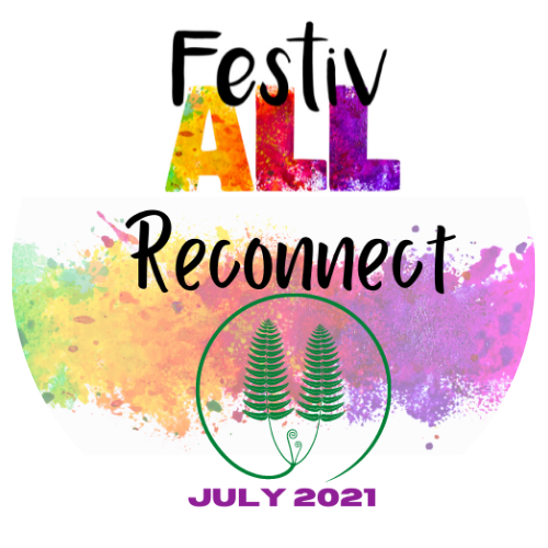 FestivALL logo. Brightly coloured with green ferns.