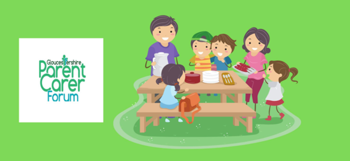 Parent Carers Forum logo and illustration of people stood and sat around a picnic bench eating food.