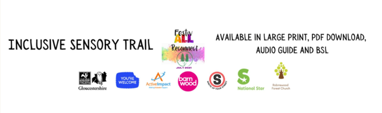 Inclusive sensory trail. Available in large print, PDF download, audio guide and BSL. Logos of all FestivALL organisations.