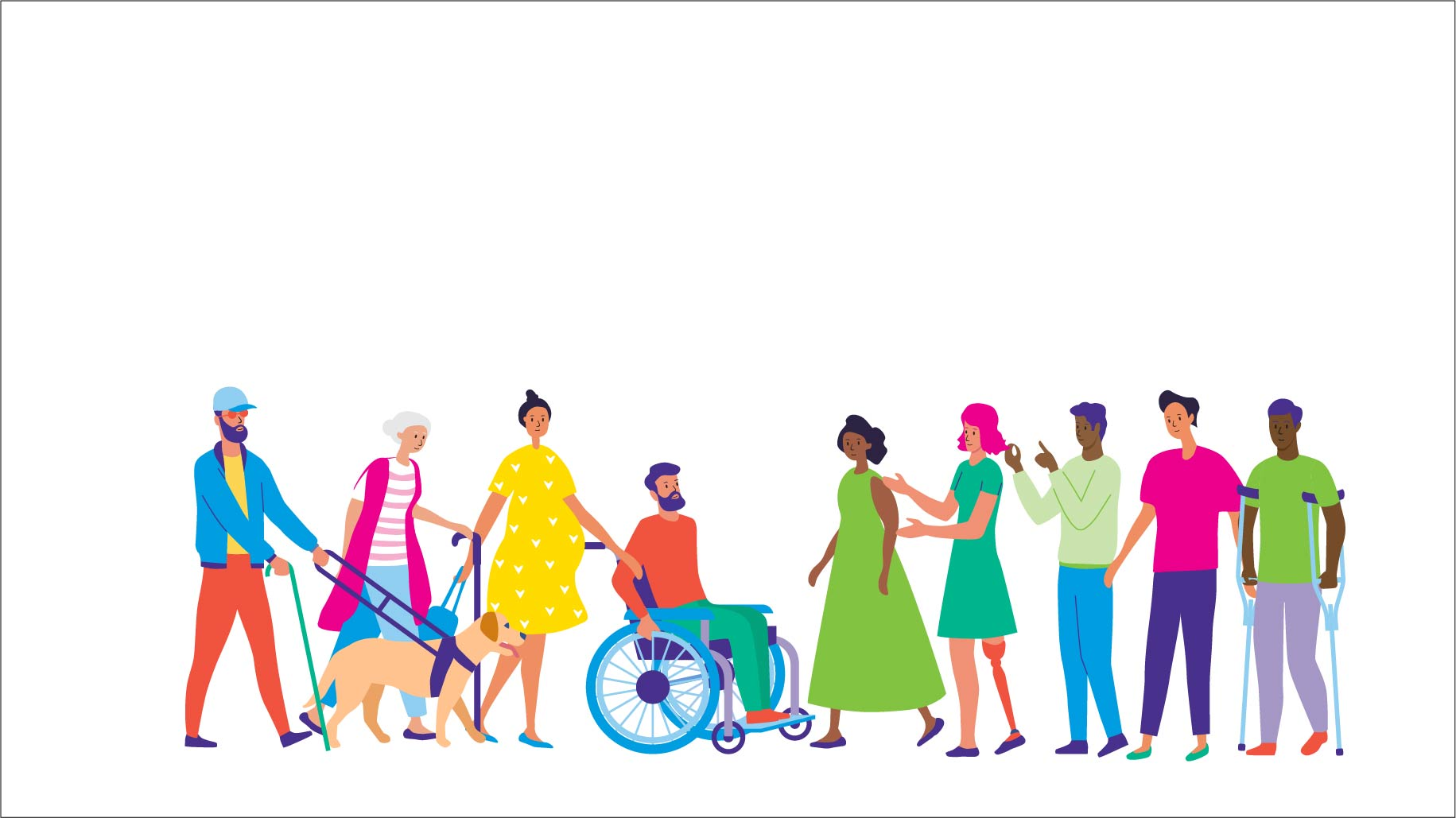 Illustration of group of people stood in a row. Very colourful.